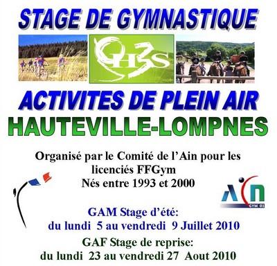 Stages d'été de gymnastique artistique