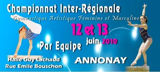 Finale de Zone Sud-Est Gymnastique Artistique DIR - Annonay - 12 et 13 juin 2010
