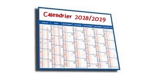 Le calendrier 2018/2019  maj 25 septembre