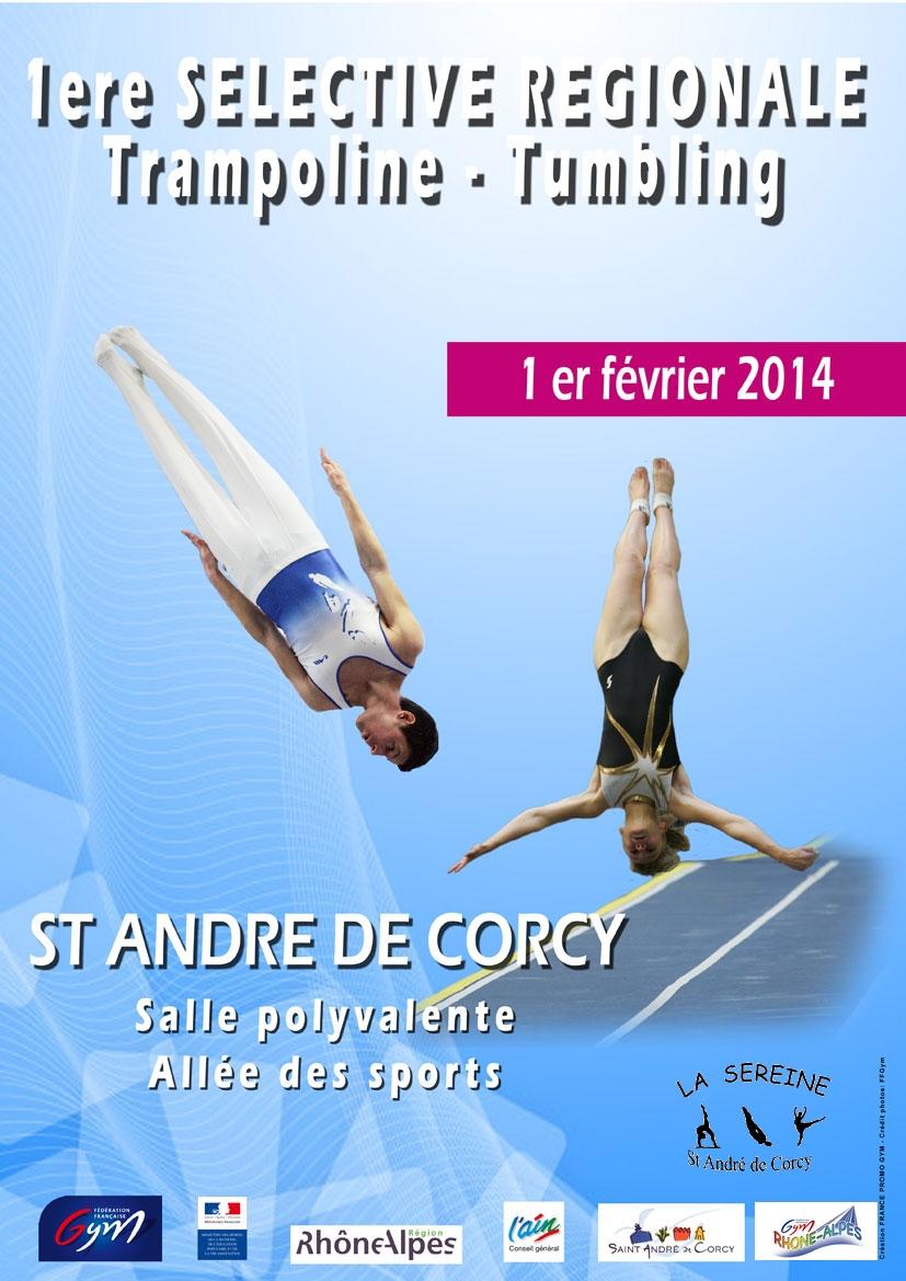 1ere séléctive régionale Trampoline Tumbling à St André de Corcy le 1er février